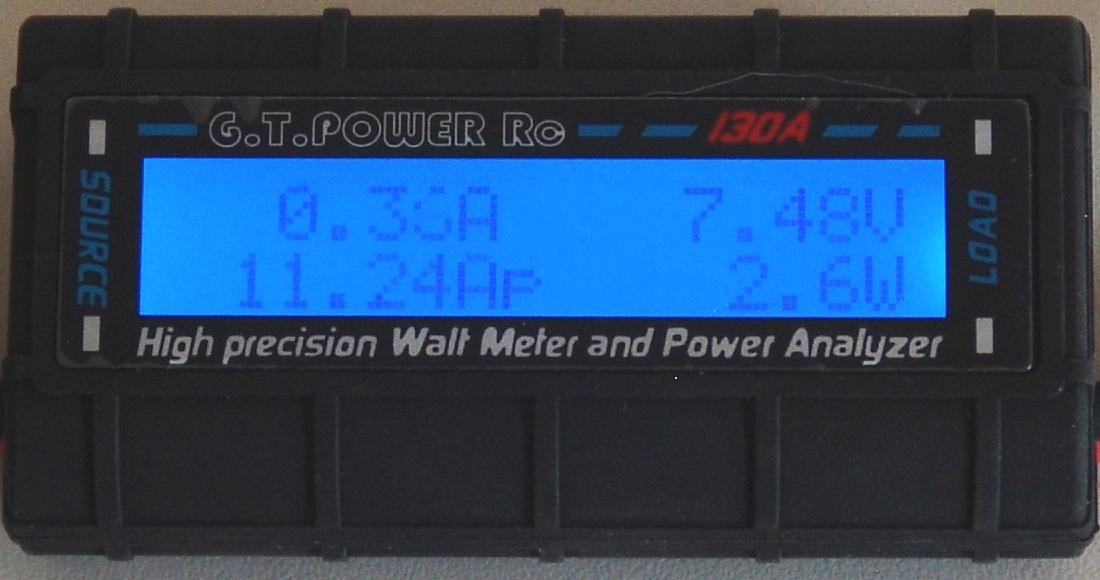 Wattmeter: Anzeige des maximalen Stroms in Ampere (A)