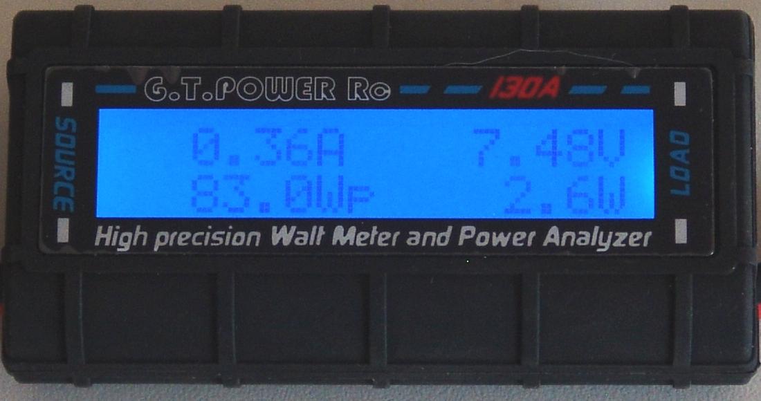 Wattmeter: Anzeige der maximalen Leistung in Watt (W)